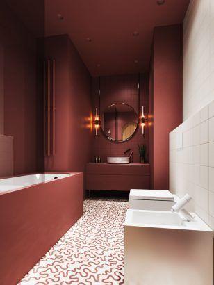 salle de bain avec murs couleurs rose  foncé